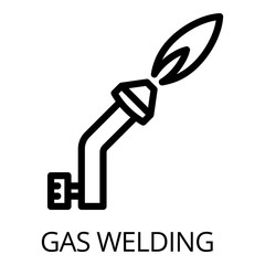 Gas welding icon. Outline gas welding vector icon for web design isolated on white background