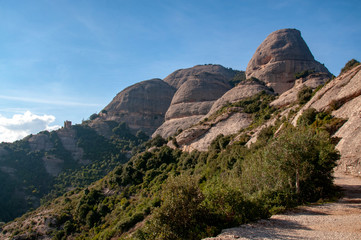 Path amongst the peaks of Montserrat mountain range