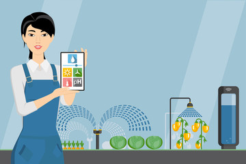 Asian woman farmer with tablet in a modern greenhouse. Internet of things in agriculture. Smart farm with wireless control. Vector illustration.