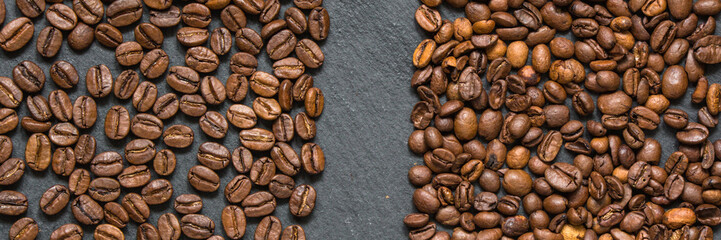 coffee beans (good and bad grain) - arabica and robusta blend (roasted coffee grain). Black background. Top view . Copy space.