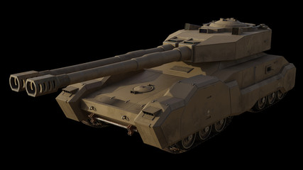 Future Super-Heavy Tank Isolated on Black, Front Angle - science fiction illustration