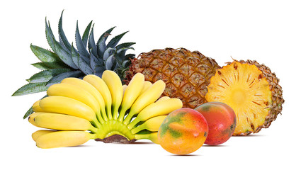 Wall Mural - Pineapple, banana and mango isolated on white background with clipping path