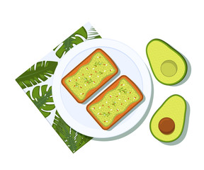 Avocado toast with half of a avocado on a plate. Breakfast and healthy lifestyle. Top view. Vector illustration