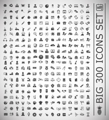 Big 300 icons set on white background for graphic and web design, Modern simple vector sign. Internet concept. Trendy symbol for website design web button or mobile app.