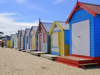 colourful bathing boxes in Brighton, Melbourne, Victoria, Australia