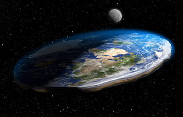 Flat Earth Theory 3D Illustration