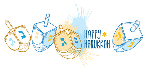 Vector greeting card with outline Hanukkah or Hanuka dreidel or sevivon with Hebrew alphabet in blue and beige isolated on white background. Ornate contour Chanukah dreidel for Jewish holiday design
