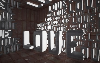 """Empty smooth abstract room interior with statue of  word """"love"""" of sheets rusted metal and gray concrete. Architectural background. Night view of the illuminated. 3D illustration and rendering"""