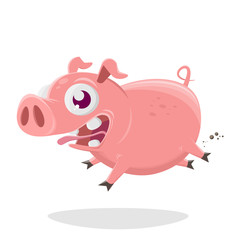 funny cartoon illustration of a crazy pig