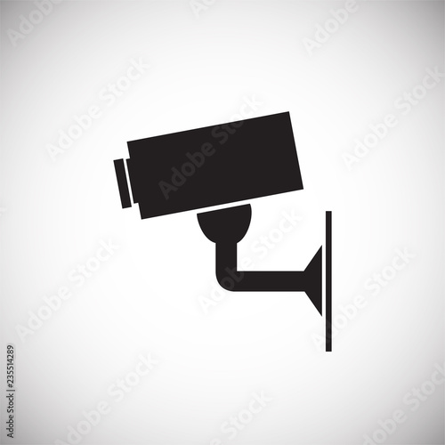 CCTV camera icon on white background for graphic and web