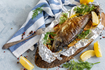 Rainbow trout baked in foil.