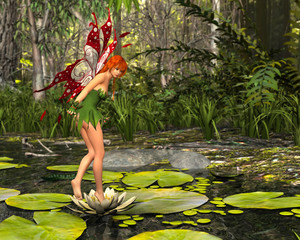 Fairy standing on water lily flower in woods. 3D rendering.