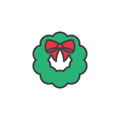 Christmas wreath icon in flat style isolated on white background.
