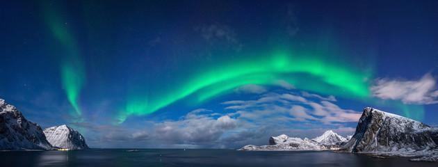 Foto auf Acrylglas Nordlicht Flaget aurora