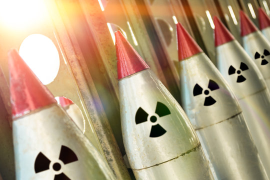 Missiles with warheads are ready to be launched. missile defense. Nuclear, chemical weapons. radiation. Weapons of mass destruction.