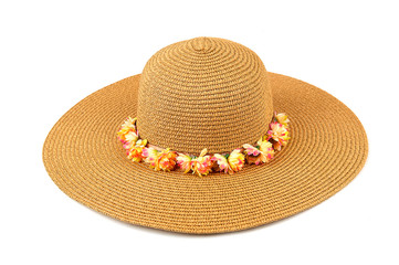 Women`s  hat on a white isolated background. Women's beach hat, colorful hat.