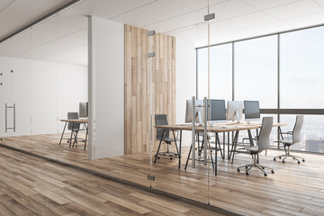 Contemporary wooden coworking office