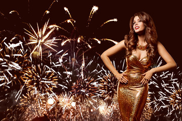 Woman Firework Party, Fashion Model in Golden Dress Celebrating over Salute Sky Background