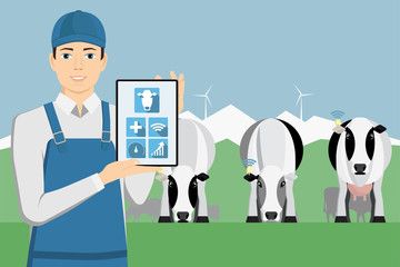 Farmer with tablet computer on a cattle grazing. Internet of things in cattle breeding. Vector illustration