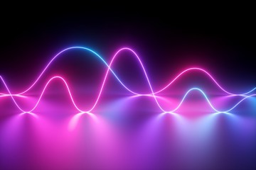 3d render, neon light, laser show, impulse, chart, ultraviolet spectrum, pulse power lines, quantum energy, pink blue violet glowing dynamic line, abstract background, reflection