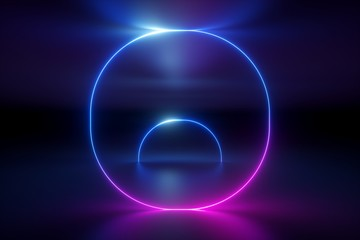 3d render, ultraviolet spectrum, glowing rings, round lines, tunnel, neon lights, virtual reality, abstract background, bubbles, circles, red blue, vibrant colors, laser show