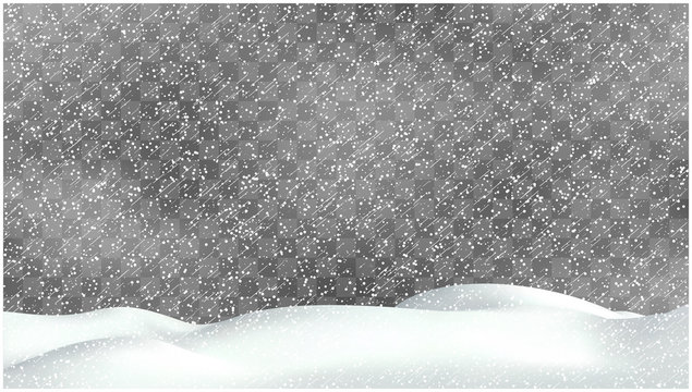 Realistic snow storm illustration. Vector snowdrift with falling snowflakes. Winter background.