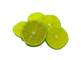 Sliced lime fruit isolated on white background