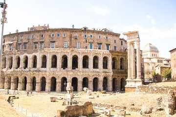 Exterior view of ancient roman marcellus theater building. Theatre of Marcellus (Teatro di Marcello) is an ancient open-air theatre in Rome, Italy. Rome architecture and landmark.