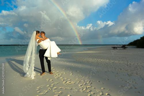 Hochzeit Malediven Mit Regenbogen Stock Photo And Royalty Free