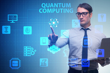 Businessman pressing virtual button in quantum computing concept