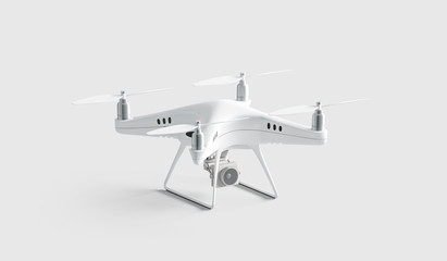 Blank white quadcopter mock up, stand isolated