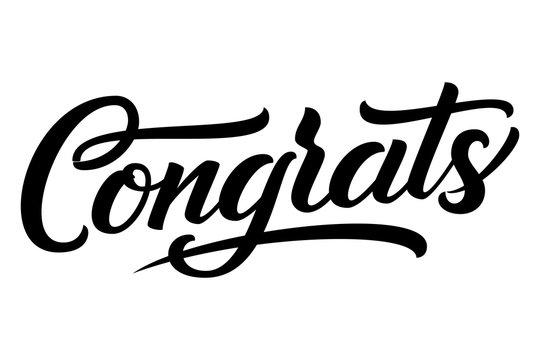 Hand drawn lettering Congrats. Vector Ink illustration. Typography poster on white background. Congratulation, celebration design template for cards, invitations, prints etc.