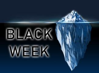 Black week illustration with iceberg