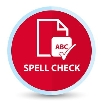 Spell check document flat prime red round button