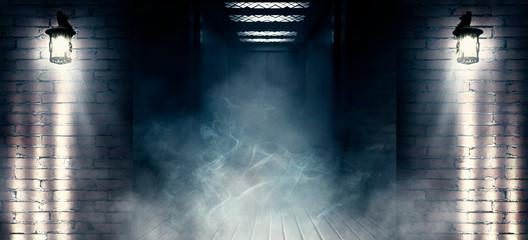 Background of empty old brick wall, open elevator doors, neon, spotlight, smoke, fog Wall mural
