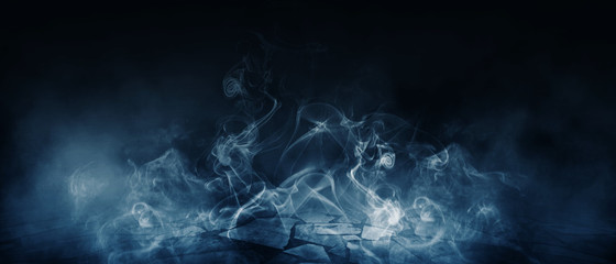 Background of empty room, street, neon light, smoke, fog, asphalt, concrete floor
