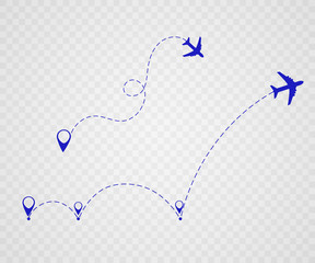 Airplane is in a dotted line. The waypoint is for a tourist trip. Vector illustration on a white background. Tourism and travel.