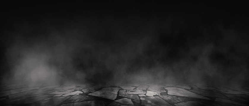 Background of empty room, street, neon light, smoke, fog, asphalt, concrete floor