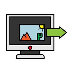 Photos icon on laptop screen. Multimedia, sharing images, digital photo album app concepts. Creative vector illustration
