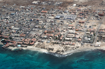 Aerial view at Santa Maria city from airplane. Island Sal, Cape Verde
