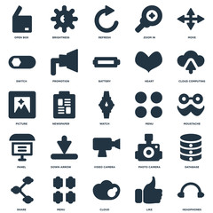 Elements Such As Headphones, Like, Cloud, Menu, Share, Cloud computing, Video camera, Panel, Switch, Refresh, Brightness icon vector illustration on white background. Universal 25 icons set.