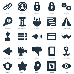 Elements Such As Eye, Picture, Head, Star, Shield, Paper plane, Browser, Dislike, Left arrow, Warning, Padlock, User icon vector illustration on white background. Universal 25 icons set.