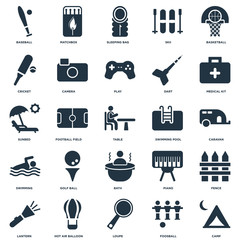 Elements Such As Camp, Caravan, Medical kit, Matchbox, Lantern, Camera, Piano, Sunbed icon vector illustration on white background. Universal 25 icons set.