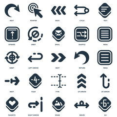 Elements Such As Six, Resize, Image, Right arrow, Favorite, Menu, Return, Type, Next, Upward, Back, Pointer icon vector illustration on white background. Universal 25 icons set.