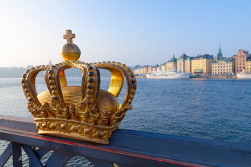 Royal crown and Stockholm old town cityscape, Sweden