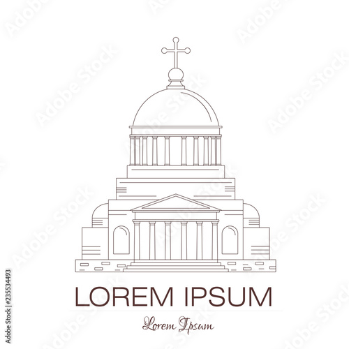 Classical building architecture made in line style vector  Church