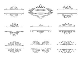 Set of Line Monograms. Vintage Floral Frames