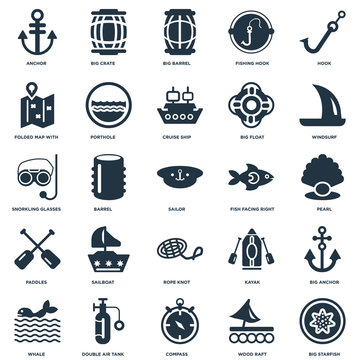 Elements Such As Big Starfish, Pearl, Windsurf, Crate, Whale, Porthole, Kayak, Snorkling Glasses icon vector illustration on white background. Universal 25 icons set.