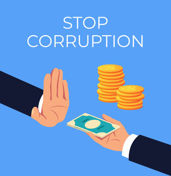 Crime hand offer giving dirty illegal money. Stop corruption concept. Vector flat cartoon graphic design isolated illustration