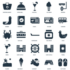 Elements Such As Flip flops, Shorts, Coconut, Ice cream, Island, Caravan, Sun Helm, Drink, Rubber, Cocktail, Hotel bell icon vector illustration on white background. Universal 25 icons set.